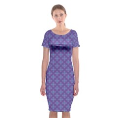 Abstract Purple Pattern Background Classic Short Sleeve Midi Dress