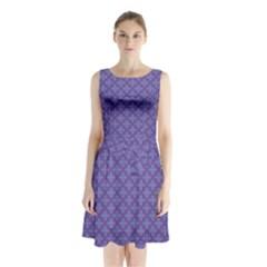 Abstract Purple Pattern Background Sleeveless Chiffon Waist Tie Dress