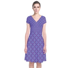Abstract Purple Pattern Background Short Sleeve Front Wrap Dress