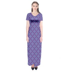 Abstract Purple Pattern Background Short Sleeve Maxi Dress