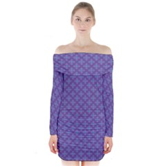 Abstract Purple Pattern Background Long Sleeve Off Shoulder Dress