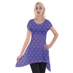 Abstract Purple Pattern Background Short Sleeve Side Drop Tunic