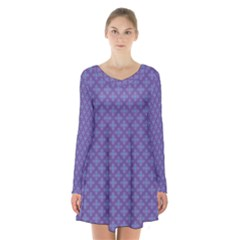 Abstract Purple Pattern Background Long Sleeve Velvet V-neck Dress