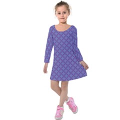 Abstract Purple Pattern Background Kids  Long Sleeve Velvet Dress