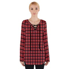 Red Plaid Women s Tie Up Tee