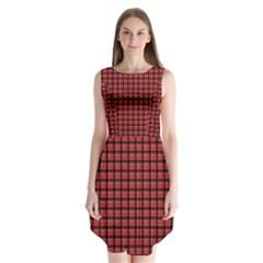 Red Plaid Sleeveless Chiffon Dress