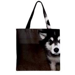 Alaskan Malamute Pup 3 Zipper Grocery Tote Bag