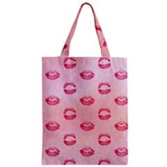 Watercolor Kisses Patterns Zipper Classic Tote Bag