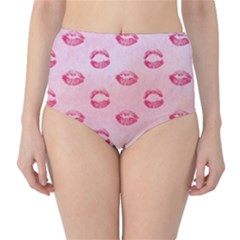 Watercolor Kisses Patterns High-Waist Bikini Bottoms