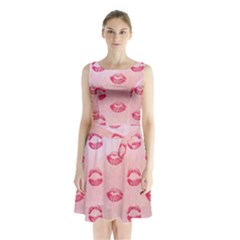 Watercolor Kisses Patterns Sleeveless Chiffon Waist Tie Dress
