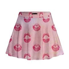 Watercolor Kisses Patterns Mini Flare Skirt