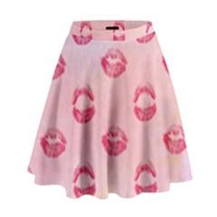 Watercolor Kisses Patterns High Waist Skirt