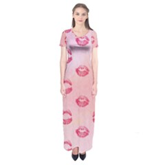 Watercolor Kisses Patterns Short Sleeve Maxi Dress