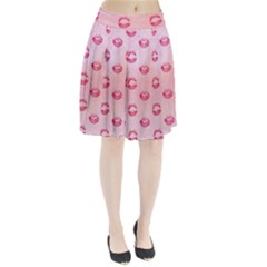 Watercolor Kisses Patterns Pleated Skirt