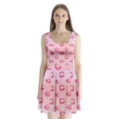 Watercolor Kisses Patterns Split Back Mini Dress