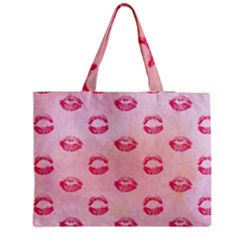 Watercolor Kisses Patterns Medium Zipper Tote Bag
