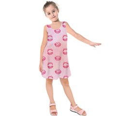 Watercolor Kisses Patterns Kids  Sleeveless Dress