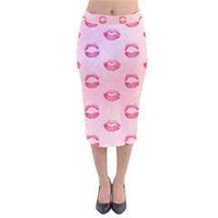 Watercolor Kisses Patterns Velvet Midi Pencil Skirt