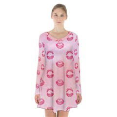 Watercolor Kisses Patterns Long Sleeve Velvet V Neck Dress