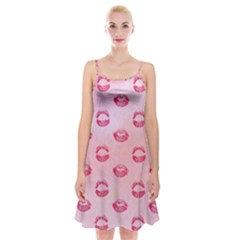 Watercolor Kisses Patterns Spaghetti Strap Velvet Dress