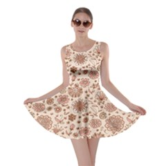 Retro Sketchy Floral Patterns Skater Dress