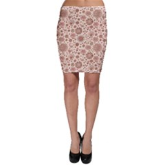 Retro Sketchy Floral Patterns Bodycon Skirt
