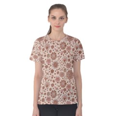 Retro Sketchy Floral Patterns Women s Cotton Tee