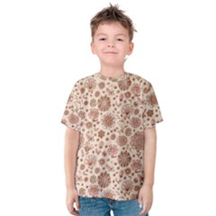 Retro Sketchy Floral Patterns Kids  Cotton Tee
