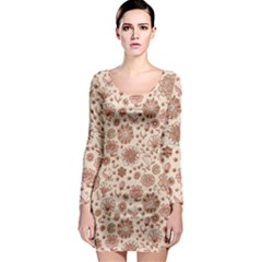 Retro Sketchy Floral Patterns Long Sleeve Bodycon Dress