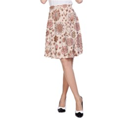 Retro Sketchy Floral Patterns A-Line Skirt