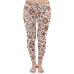 Retro Sketchy Floral Patterns Classic Winter Leggings