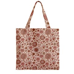 Retro Sketchy Floral Patterns Zipper Grocery Tote Bag