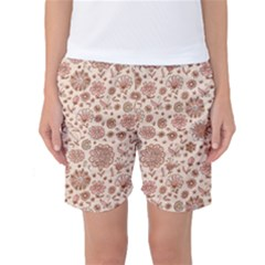 Retro Sketchy Floral Patterns Women s Basketball Shorts