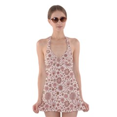 Retro Sketchy Floral Patterns Halter Swimsuit Dress