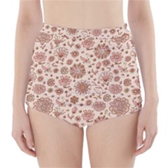 Retro Sketchy Floral Patterns High-Waisted Bikini Bottoms