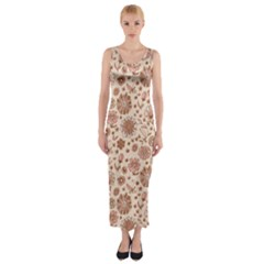 Retro Sketchy Floral Patterns Fitted Maxi Dress