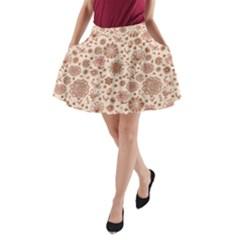 Retro Sketchy Floral Patterns A-Line Pocket Skirt