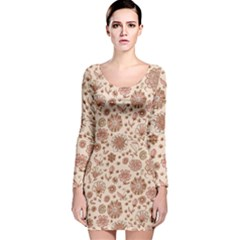 Retro Sketchy Floral Patterns Long Sleeve Velvet Bodycon Dress