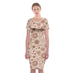 Retro Sketchy Floral Patterns Classic Short Sleeve Midi Dress