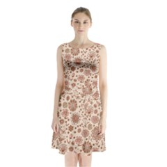 Retro Sketchy Floral Patterns Sleeveless Chiffon Waist Tie Dress