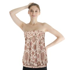Retro Sketchy Floral Patterns Strapless Top