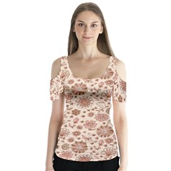 Retro Sketchy Floral Patterns Butterfly Sleeve Cutout Tee