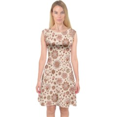 Retro Sketchy Floral Patterns Capsleeve Midi Dress