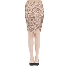 Retro Sketchy Floral Patterns Midi Wrap Pencil Skirt