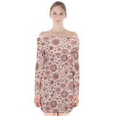 Retro Sketchy Floral Patterns Long Sleeve Off Shoulder Dress