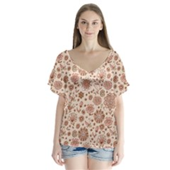 Retro Sketchy Floral Patterns Flutter Sleeve Top