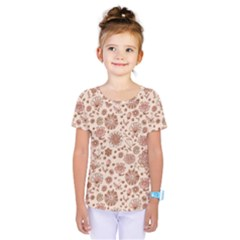 Retro Sketchy Floral Patterns Kids  One Piece Tee