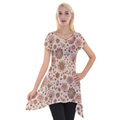 Retro Sketchy Floral Patterns Short Sleeve Side Drop Tunic
