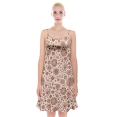 Retro Sketchy Floral Patterns Spaghetti Strap Velvet Dress