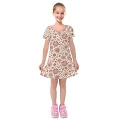 Retro Sketchy Floral Patterns Kids  Short Sleeve Velvet Dress